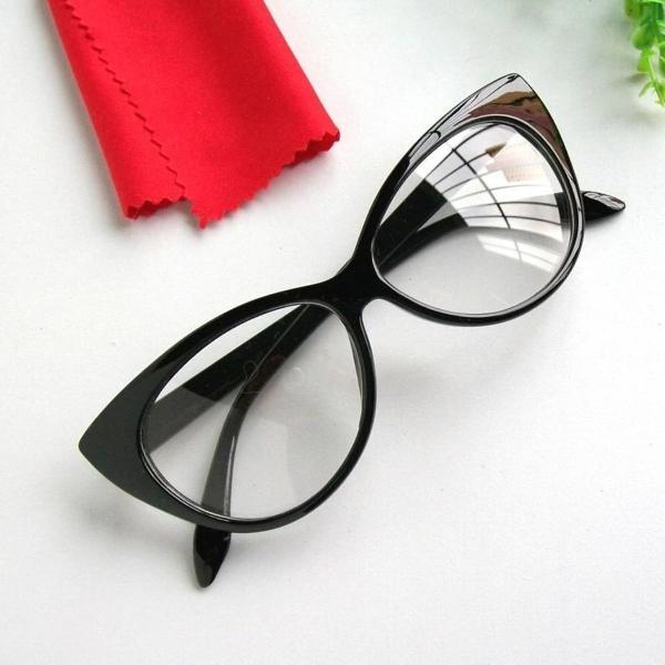 Armação óculos feminino estilo gatinha preto á pronta