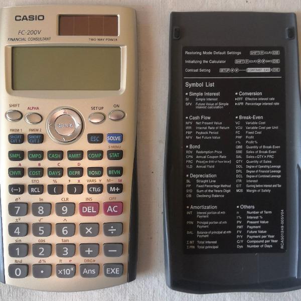 Calculadora financeira casio fc-200v nunca usada!