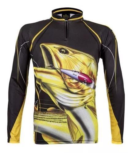 Camisa de pesca king proteção solar uv kff 202 - dourado