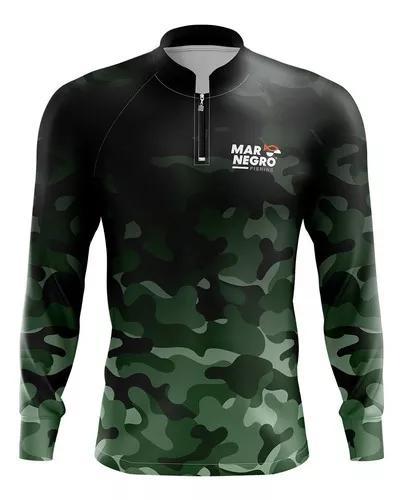 Camiseta de pesca mar negro proteção uv50 camuflada