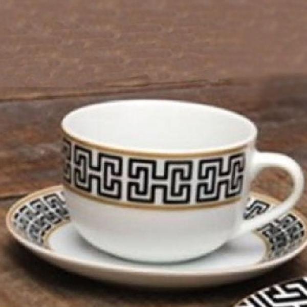 Jogo xícaras chá super white egypt