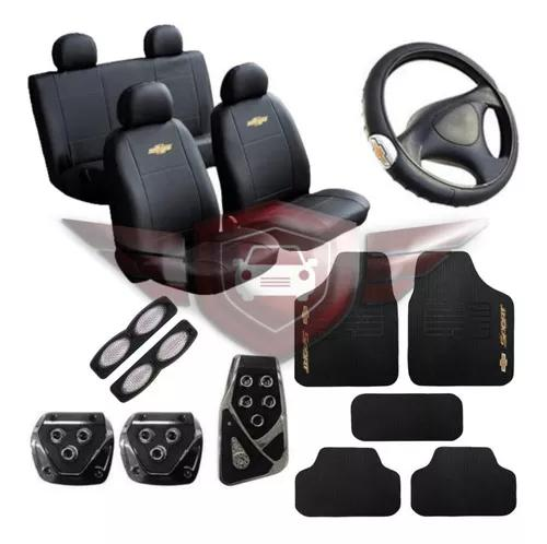 Kit capa couro banco + tapete + volante + pedal chevrolet