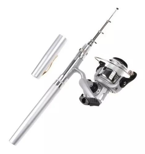 Mini vara de pescar telescópica caneta modelo molinete
