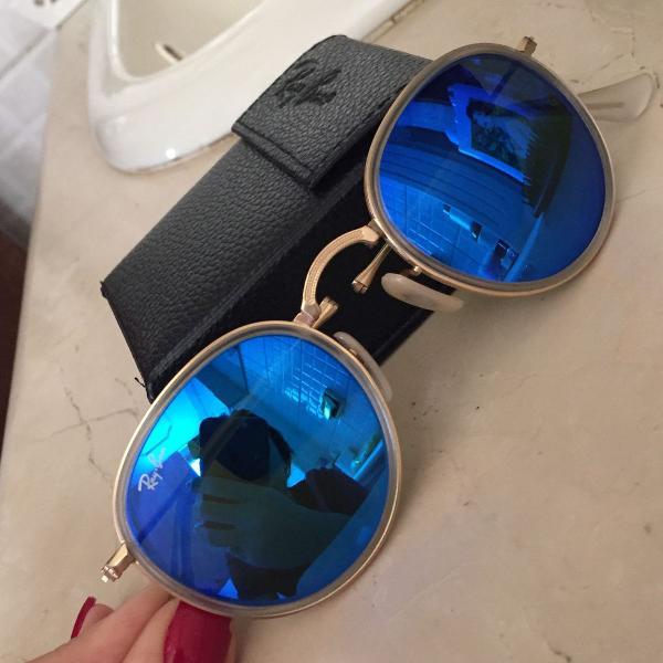 Oculos round dobrável espelhado