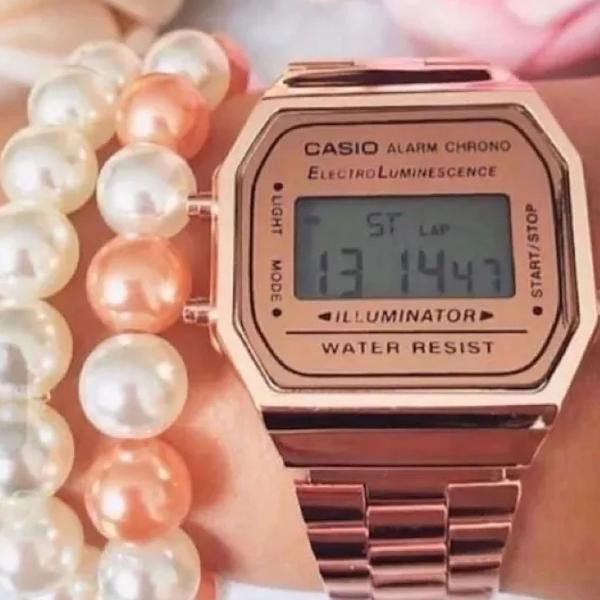 Relógio casio rose a-168