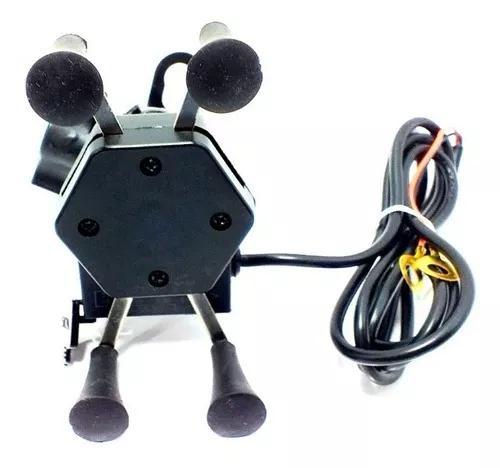 Suporte celular p/ moto universal com carregador usb guidão