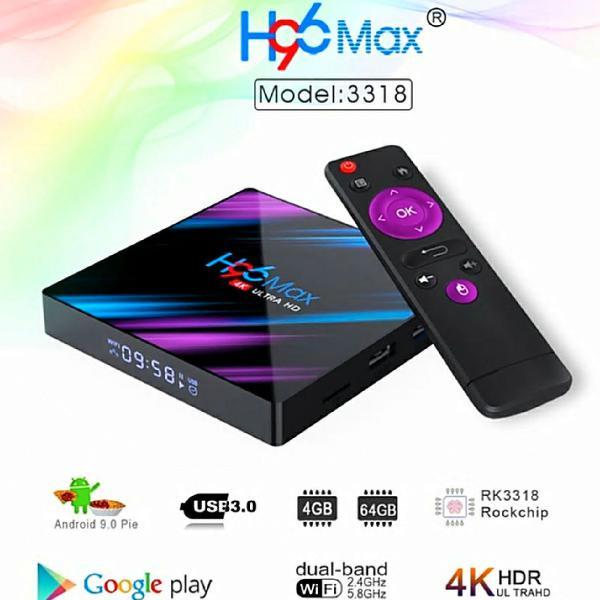 Tv box h96 max 4k ultra hd 32gb 4gb ram android 9.0