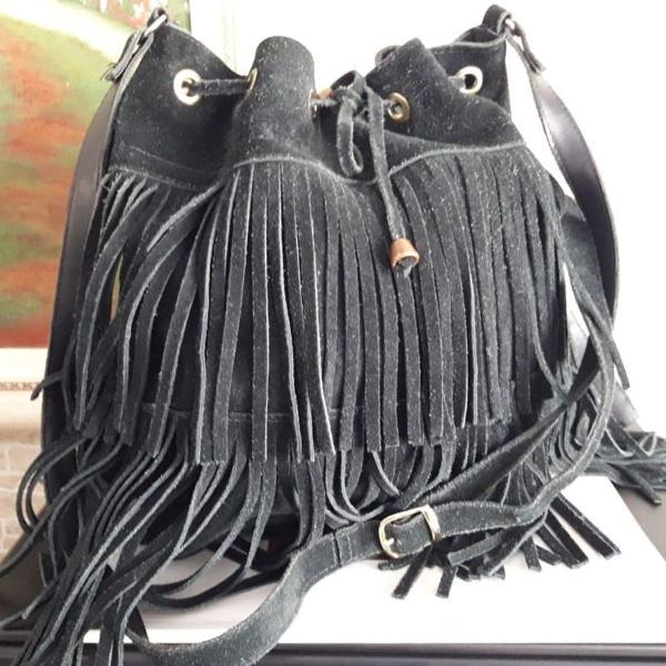 Bolsa camurça preto nova