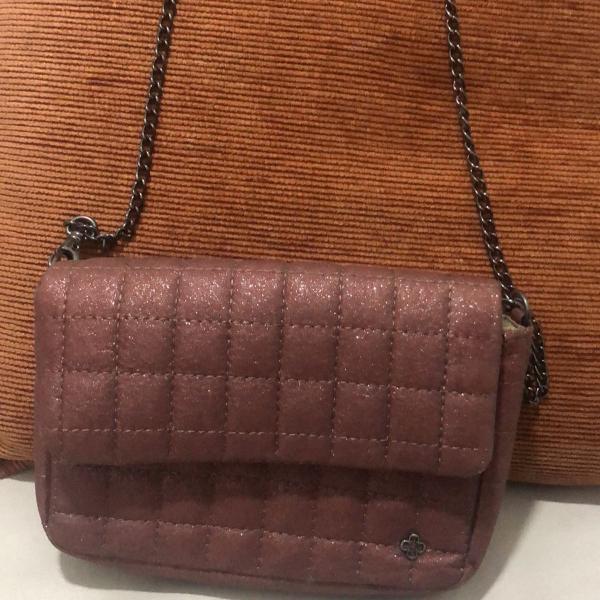 Bolsa da capodarte rosa/roxa com glitter/metalizada