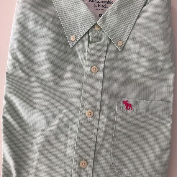 Camisa abercrombie&fitch verde xadrez
