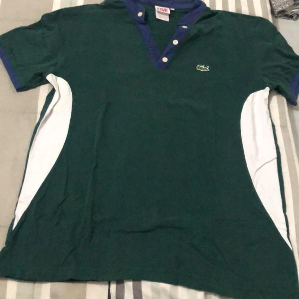 Camisa gola de padre lacoste cor verde tamanho m/g