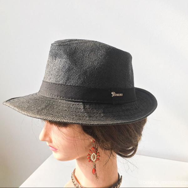 Chapéu panamá verão cinza