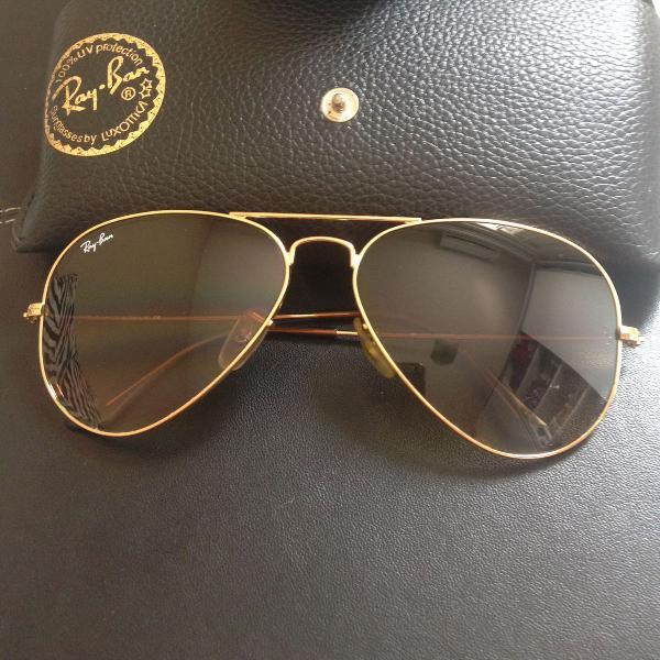 culos de sol Ray-Ban original aviador dourado lente marrom
