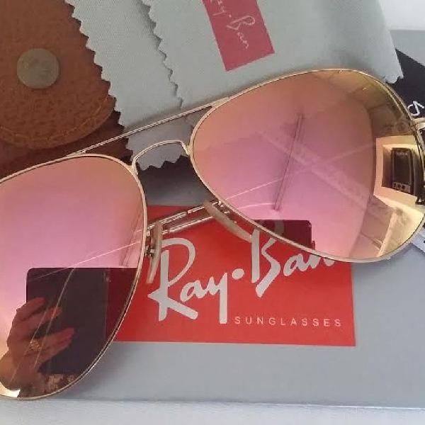 Culos de sol unissex ray-ban aviador dourado com rose