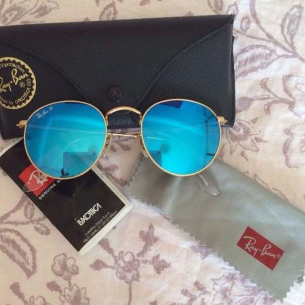 Culos de sol rayban round azul espelhado rb3447 feminino