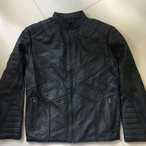 Jaqueta couro masculina estilo motoqueiro