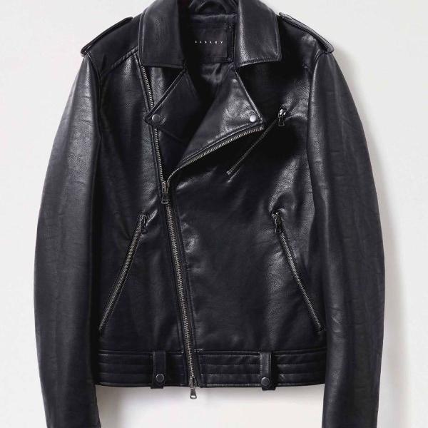 Jaqueta de couro preta comprada em milao