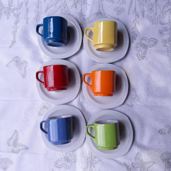 Jogo conjunto xicaras de chá pires 150ml
