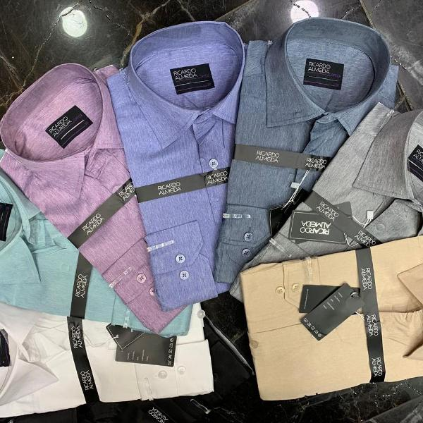 Kit 2 camisas social ricardo almeida masculino manga longa
