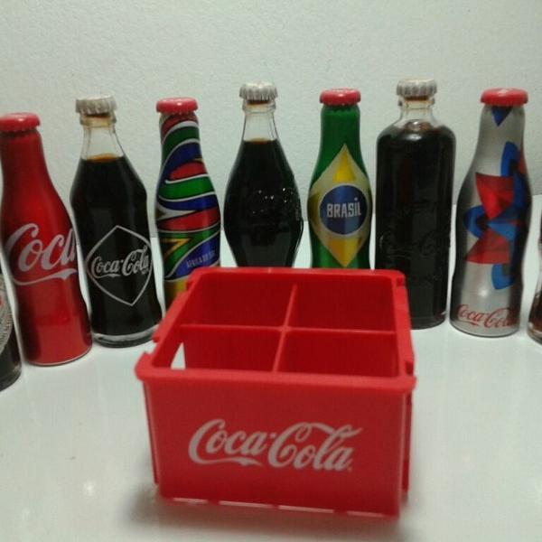 Kit 9 mini garrafas coca cola miniaturas de coleção