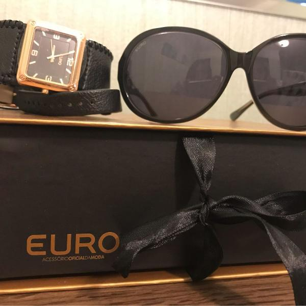 Kit relógio euro com óculos