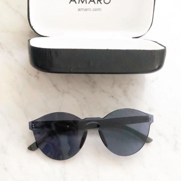 Oculos de sol fumê preto acrilico amaro