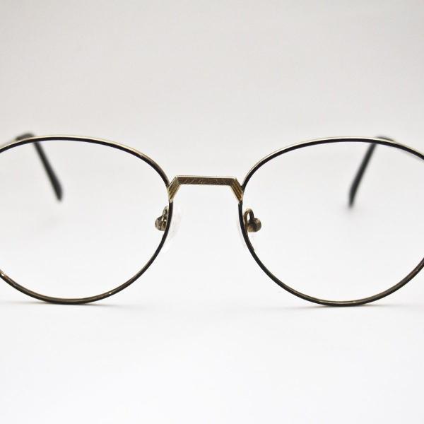 Oculos redondo retro preto e dourado