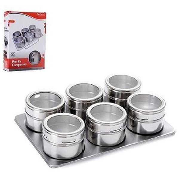 Porta tempero c/ 6 potes de inox c/ base