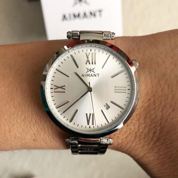 Relógio aimant pulseira prata