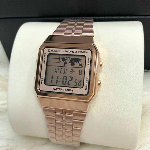 Relógio casio retrô vintage a500wag-9 rosé/claro