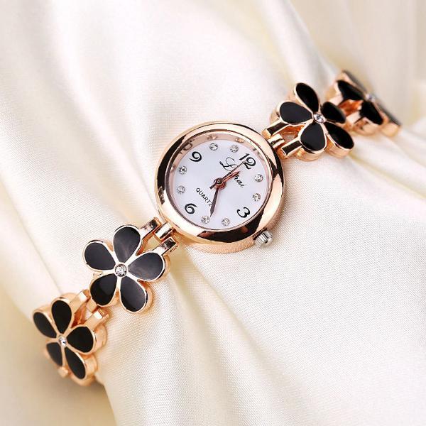 Relógio feminino dourado flores preto