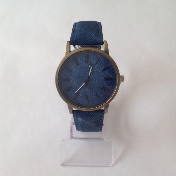 Relógio feminino estilo jeans azul