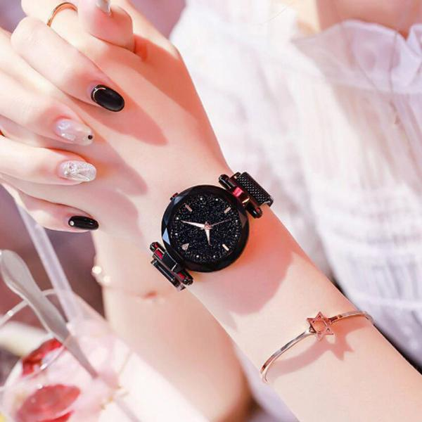 Relógio feminino preto pulseira magnética