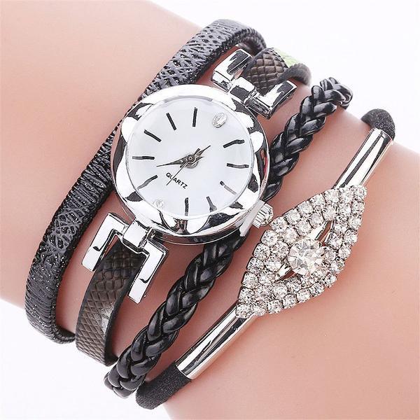Relógio feminino pulseira couro olho strass preto