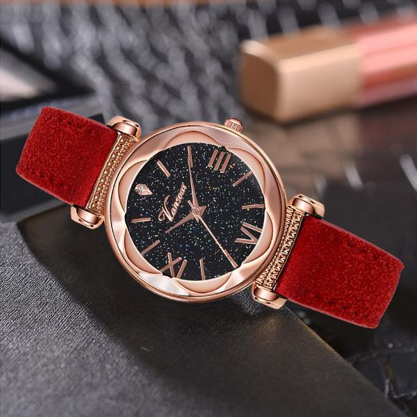 Relógio feminino vermelho camurça