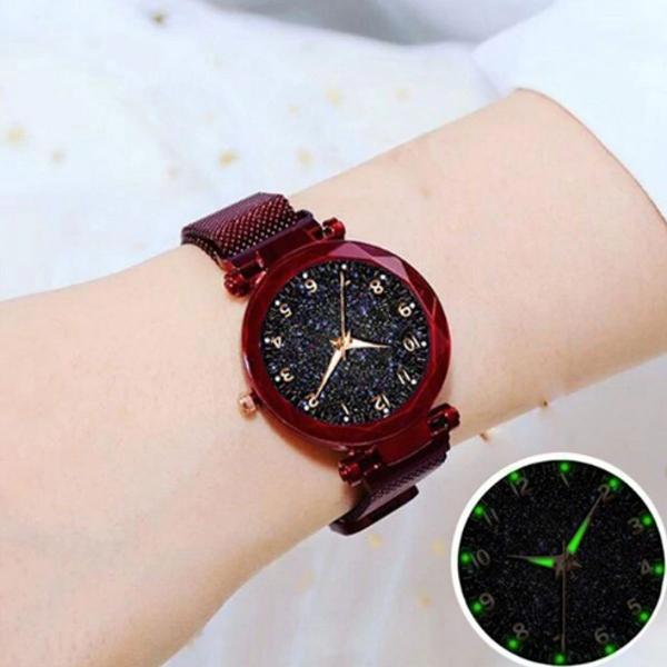 Relógio feminino vermelho pulseira magnética