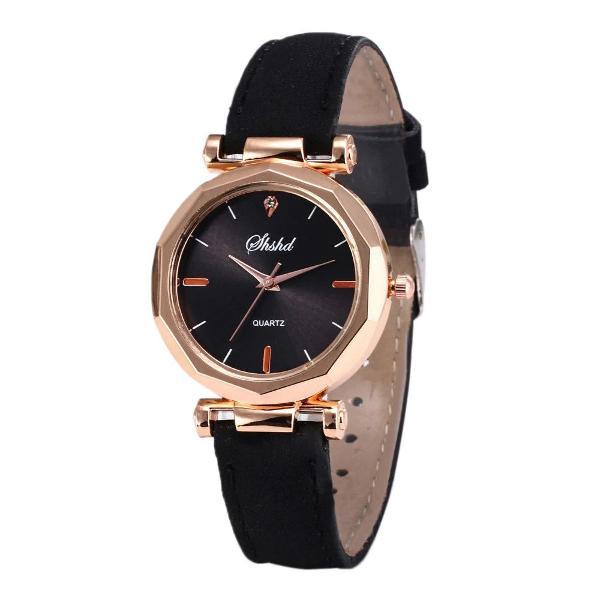 Relógio luxo feminino social couro analógico casual