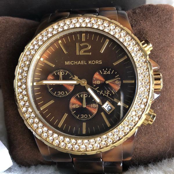 Relógio michael kors mk 5557 tartaruga e dourado