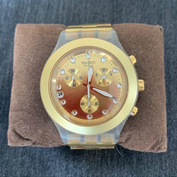 Relógio swatch original dourado feminino a prova dágua