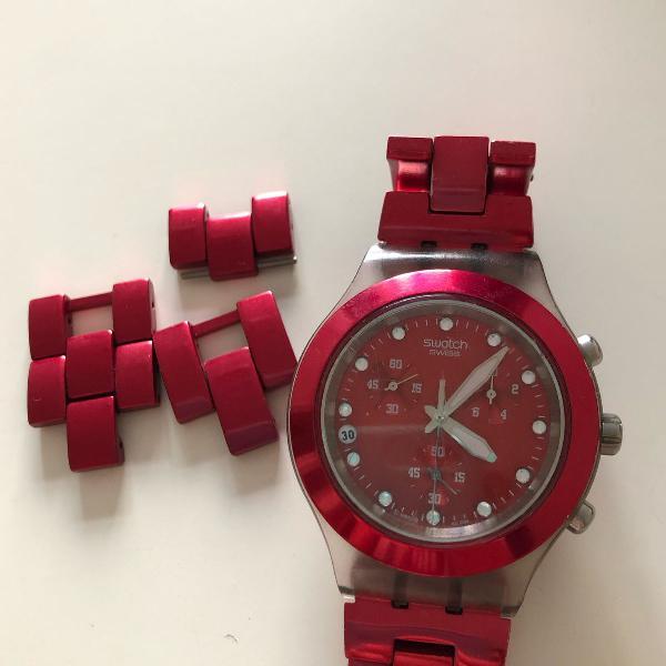 Relógio swatch vermelho original.