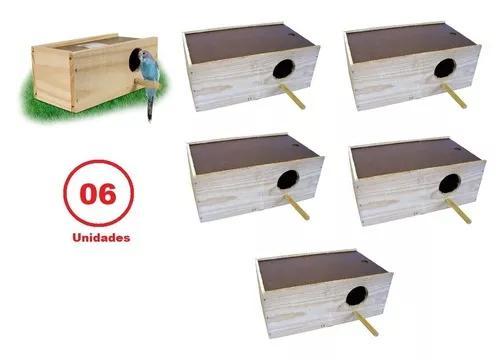Kit c/ 6 ninho periquito australiano madeira pinus hr