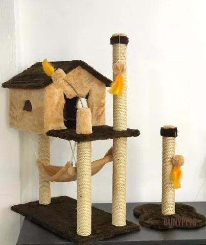 Kit para gato arranhador casa com rede + arranhador poste