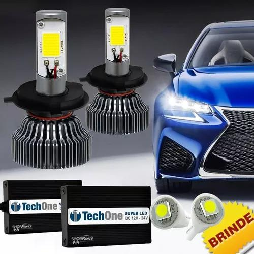 Kit super led tech one h4 6000k 12v e 24v 18w 6000lm brinde