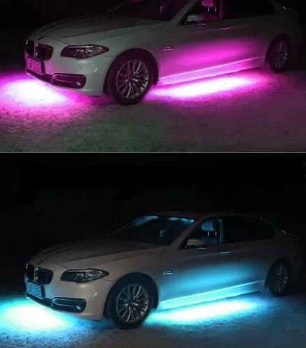 Led neon rgb externo acessorios tunnig luz carro 8 cores 12v