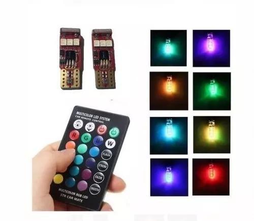 Par lâmpadas pingo t10 6 led rgb 16 cores silicone