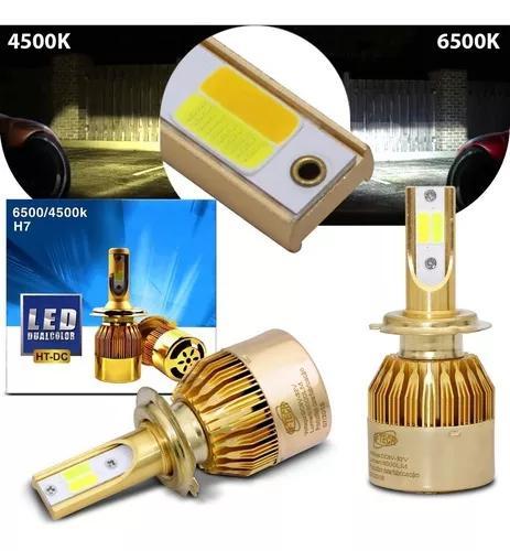 Par lâmpadas super led h7 6500k 4500k 12 24v 36w dual color