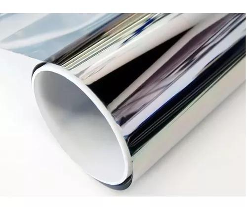 Película adesiva insulfilme 0,5 x 5,0 mts prata espelhado.