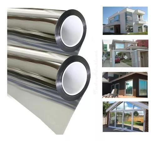 Película filme prata espelhado vidro janela 8m x 75cm