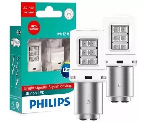 Philips lampada led p21/5w 2 polos vermelha lanterna freio