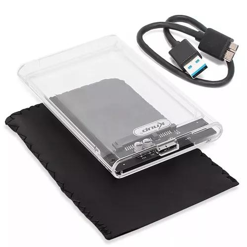 Case acrílico hd externo gaveta 2,5 usb 3.0 sata notebook
